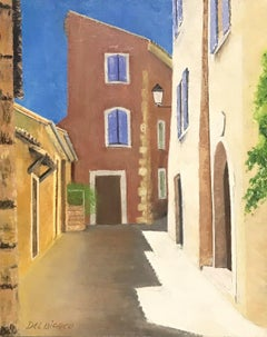 20TH CENTURY FRENCH SIGNED OIL - MEDITERRANEAN EMPTY STREET SCENE OLD HOUSES