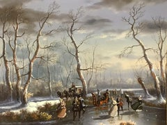 CLASSICAL DUTCH WINTER SCENE OIL PAINTING - FIGURES SKATING ON ICE - SIGNED