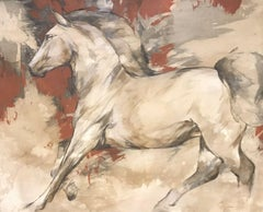 HUGE CONTEMPORARY FRENCH PAINTING - RUNNING HORSES 2008 by CYRIL REGUERRE