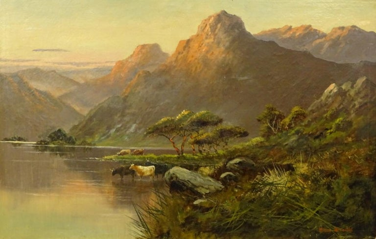 Antique Scottish Highland Loch Scene Cattle Watering Sunset Signed Oil - Painting by Willem Breanski