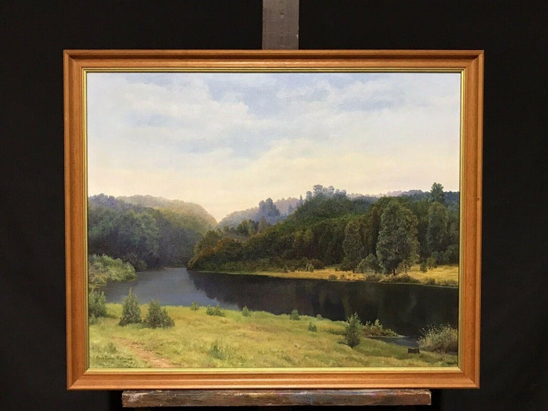 Large English Tranquil Summer River Landscape Sunset Harvest Fields Signed Oil - Painting by Paul George Halle