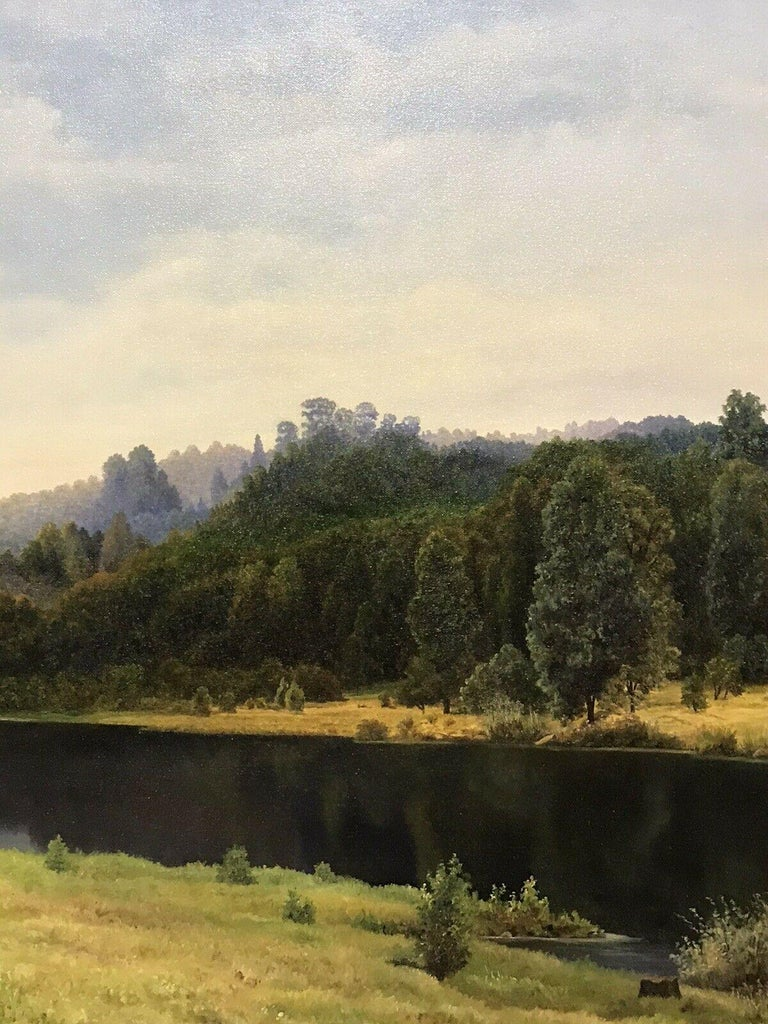 Artist/ School: Paul George Halle (British b. 1949), signed and dated 1987  Title: Evening Reflections  Medium: oil painting, on canvas.   Size:       frame: 26.75 x 32.75  inches            painting: 24 x 30 inches          Provenance: private