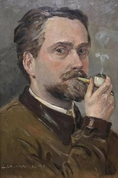 1940's FRENCH POST-IMPRESSIONIST SIGNED OIL - PORTRAIT OF MAN SMOKING PIPE