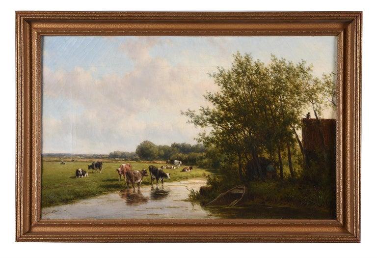 Large 19th Century Pastoral Landscape Cattle Grazing River Landscape - Oil - Painting by Willem Vester (Dutch 1824-1895)