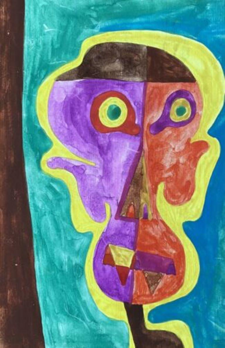 ORIGINAL 1970'S FRENCH PSYCHEDELIC ABSTRACT PORTRAIT PAINTING OF FIGURE