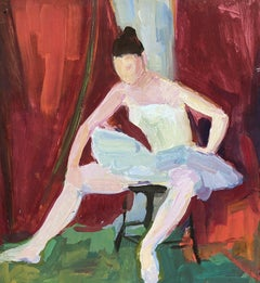 ORIGINAL 1970'S FRENCH MODERNIST PAINTING - PORTRAIT OF A BALLERINA GIRL