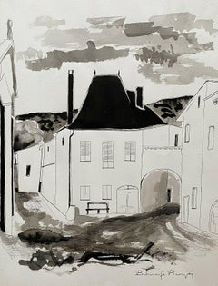 ROGER BONAFE (B.1932) ORIGINAL PAINTING FRENCH MODERNIST VIEW OVER OLD TOWN