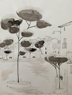 ROGER BONAFE (B.1932) ORIGINAL PAINTING FRENCH MODERNIST - TREES IN TOWN SQUARE