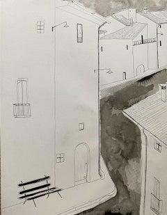 ROGER BONAFE (B.1932) ORIGINAL PAINTING FRENCH MODERNIST - OLD CITY STREETS