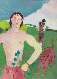 SEMI NUDE MALE WITH BULL IN LANDSCAPE - 20th CENTURY FRENCH MODERNIST PAINTING