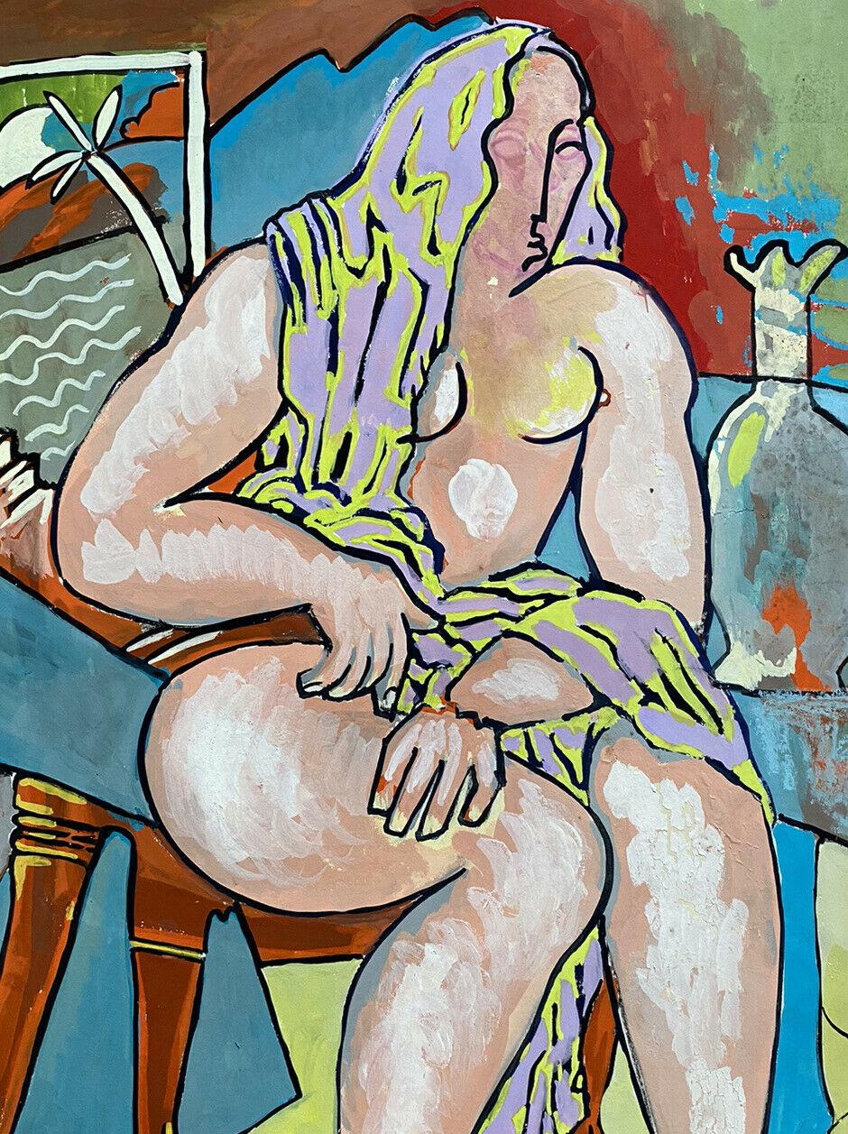 20th CENTURY FRENCH MODERNIST PAINTING - NUDE FIGURE COLORFUL INTERIOR