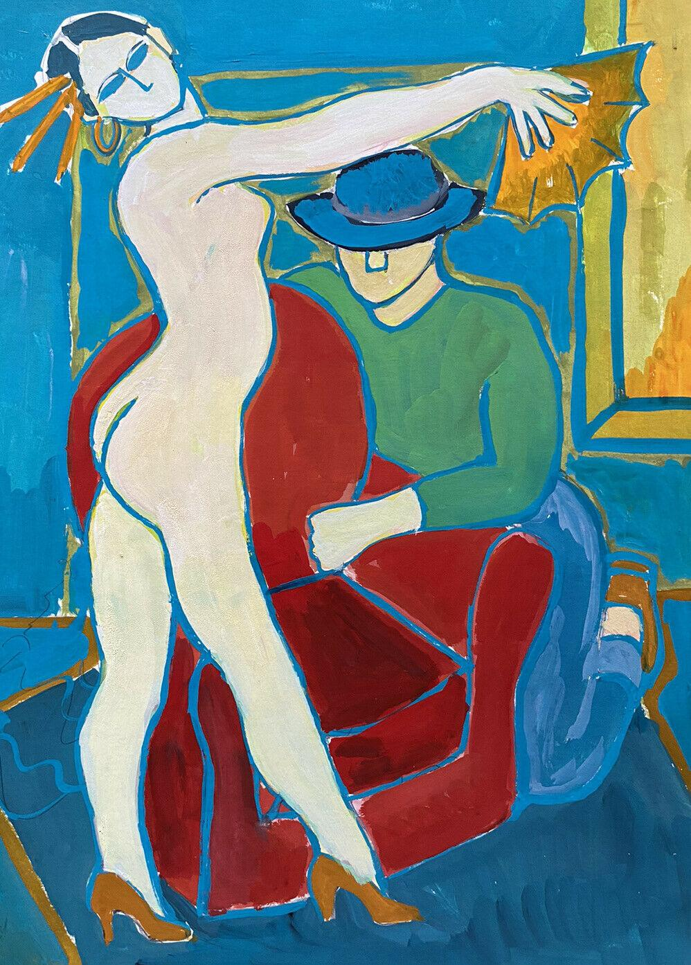 SUPERB 20th CENTURY FRENCH MODERNIST PAINTING - NUDE MODEL IN INTERIOR ROOM
