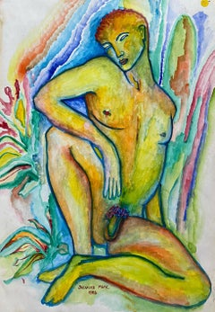 COLORFUL 20th CENTURY LARGE FRENCH MODERNIST PAINTING - STANDING MALE NUDE