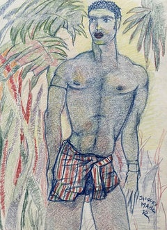 20th CENTURY FRENCH MODERNIST PAINTING - MALE NUDE AMONGST PALM TREES