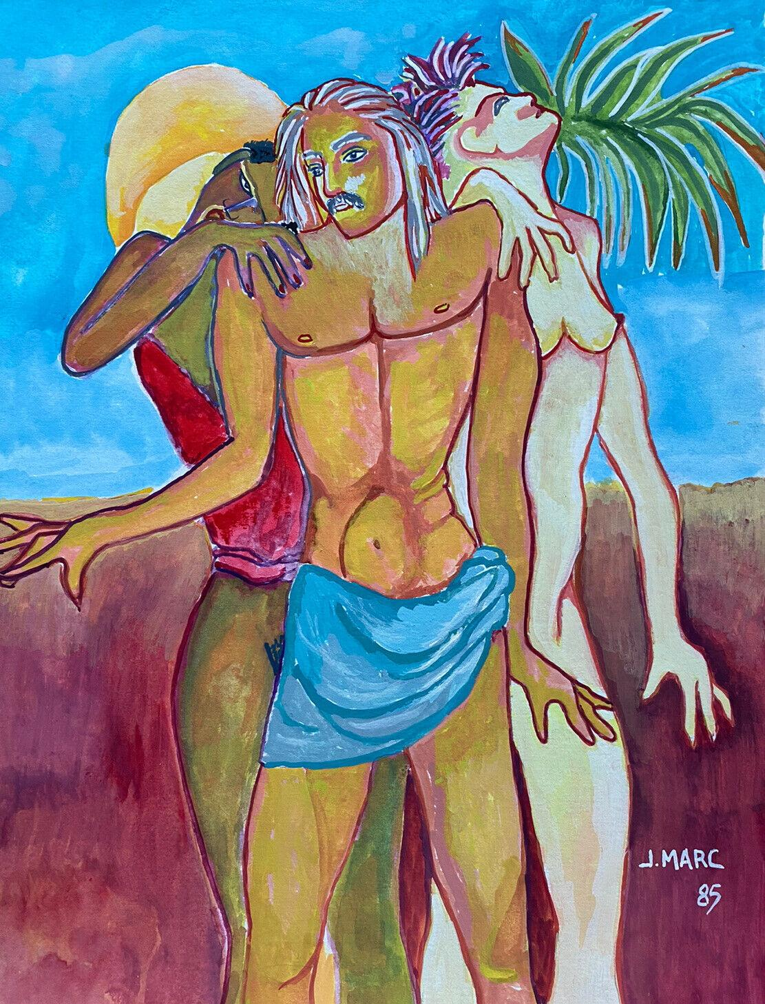 COLORFUL 20th CENTURY FRENCH MODERNIST PAINTING - NUDE FIGURES IN DESERT