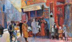 Large Signed French Impressionist Oil - Bustling Parisian Street Vintage Scene