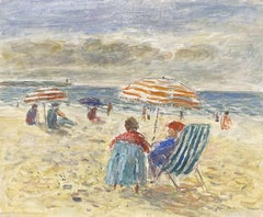 Figures on Beach Looking out to Brittany Coastline Seascape French oil