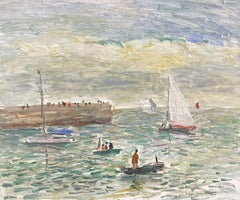 Sailing Boats Port Navalo Brittany Coastline, Signed French Impressionist Oil