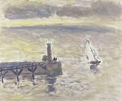 Sailing Boats Fecamp Brittany Coastline, Signed French Impressionist Oil