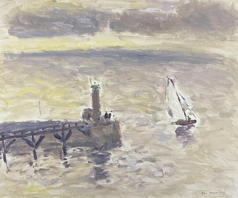 JEAN-JACQUES RENE (b.1943)  Figurative Painting - Sailing Boats Fecamp Brittany Coastline, Signed French Impressionist Oil