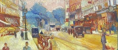 Large Signed French Impressionist Oil - Vintage Parisian City Street scene