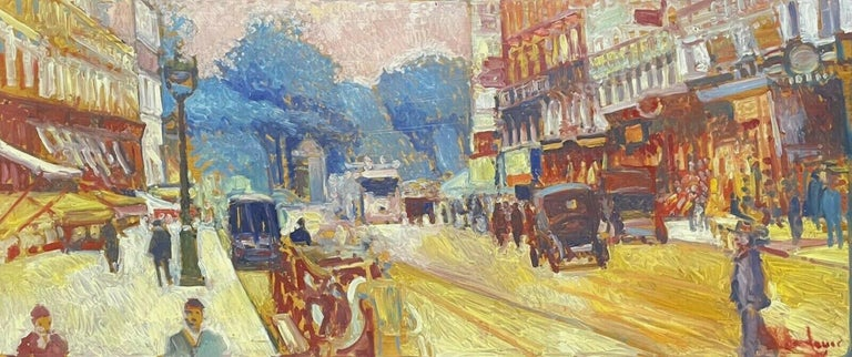 Patrice Landauer Figurative Painting - Large Signed French Impressionist Oil - Vintage Parisian City Street scene