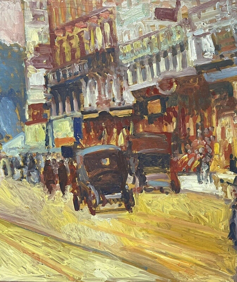 Large Signed French Impressionist Oil - Vintage Parisian City Street scene - Brown Figurative Painting by Patrice Landauer