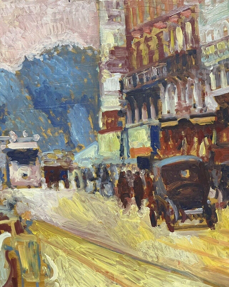 Artist/ School: by Patrice Landauer (French b. 1965), signed lower right  Title: Vintage Parisian Street scene  Medium:  oil painting, on wood panel.   Size: painting: 20 x 44.5 inches          Provenance: private collection of this artists work,