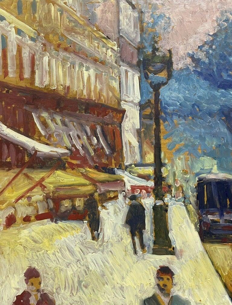 Large Signed French Impressionist Oil - Vintage Parisian City Street scene For Sale 1