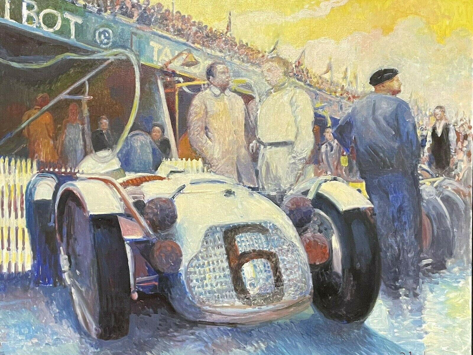 Huge Signed French Impressionist Oil - Vintage Motor Car Racing Scene