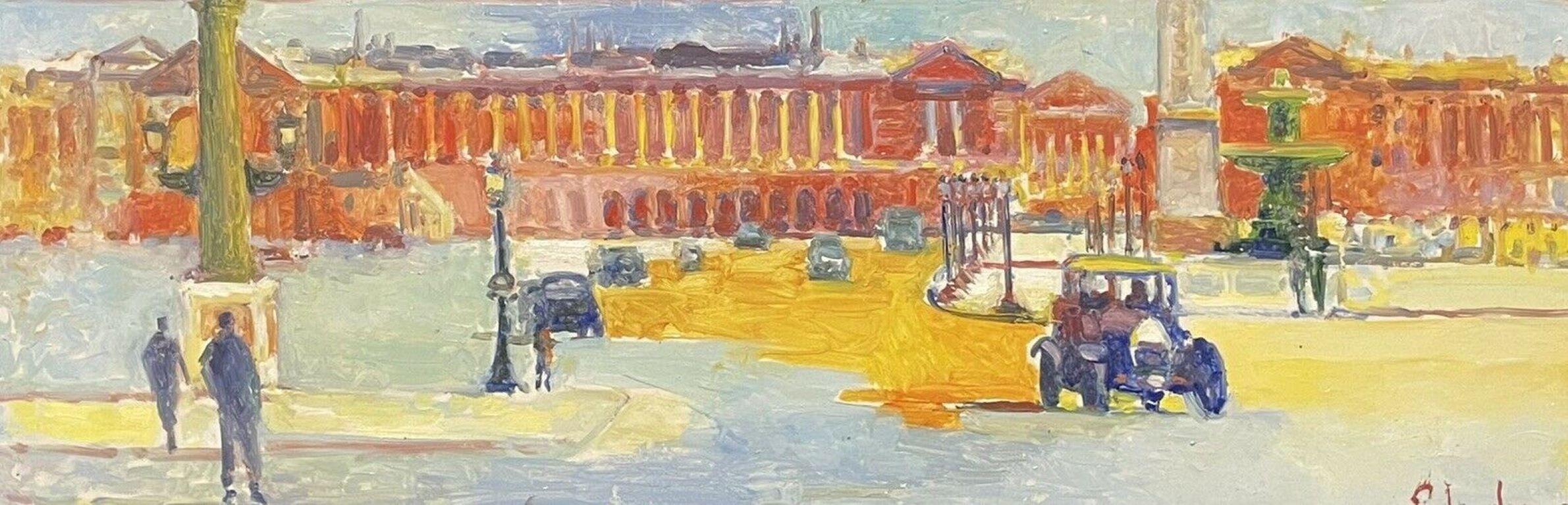 Large Signed French Impressionist Oil - Vintage Parisian City Street scene