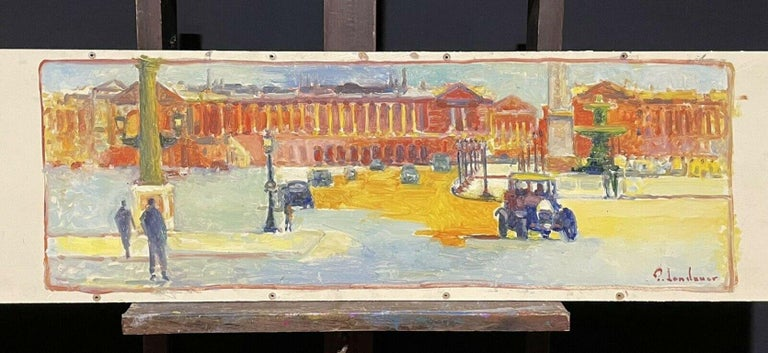 Large Signed French Impressionist Oil - Vintage Parisian City Street scene - Painting by Patrice Landauer