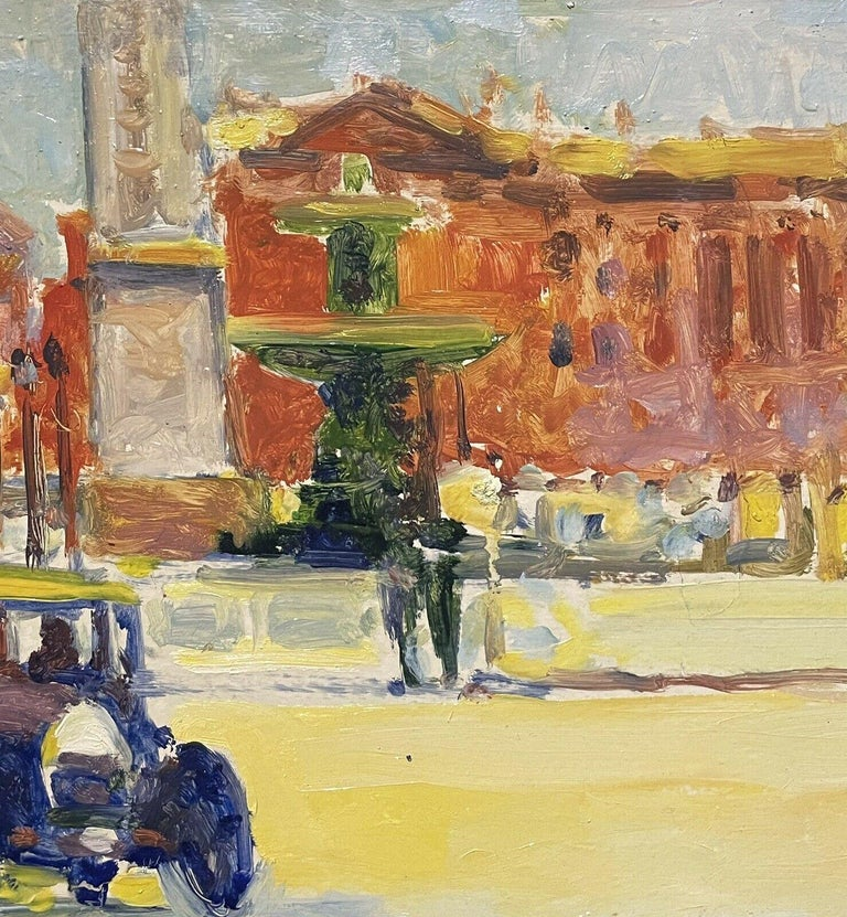 Large Signed French Impressionist Oil - Vintage Parisian City Street scene - Beige Figurative Painting by Patrice Landauer