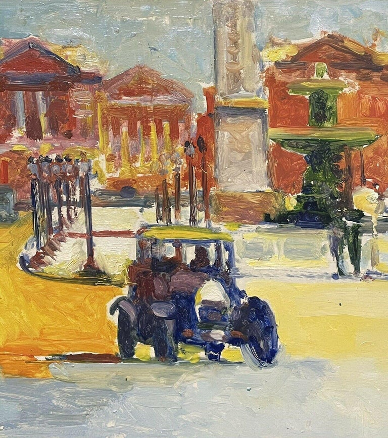 Artist/ School: by Patrice Landauer (French b. 1965), signed lower right.  Title: Vintage Street scene in Paris showing la Place de la Concorde.   Medium:  oil painting, on long wooden panel, unframed  Size:   painting: 14 x 52.5 inches
