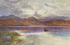 SIGNED ANTIQUE SCOTTISH HIGHLAND LOCH WITH FISHERMEN AT SUNSET - OIL PAINTING
