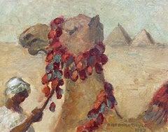 BARBARA DOYLE (B.1917) 1990's MODERN BRITISH OIL PAINTING - CAMEL & PYRAMIDS