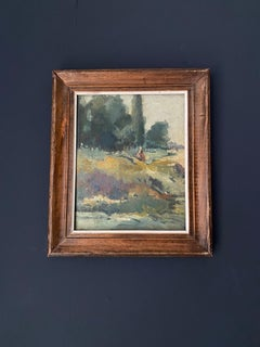 MID CENTURY FRENCH IMPRESSIONIST FRAMED OIL ON BOARD - LADY IN SUMMER MEADOWS
