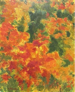 CLAUDINE RIBOULET (French 1924-2013) LARGE SIGNED OIL - AUTUMNAL COLOUR FUSION