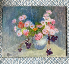 SIMONE RAMEL (FRENCH 1960'S) SIGNED OIL - FLOWERS IN VASE - PINK SHADES