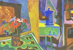 CLAUDE LAGOUCHE (1943-2020) LARGE 1970s MODERNIST PAINTING - INTERIOR STILL LIFE