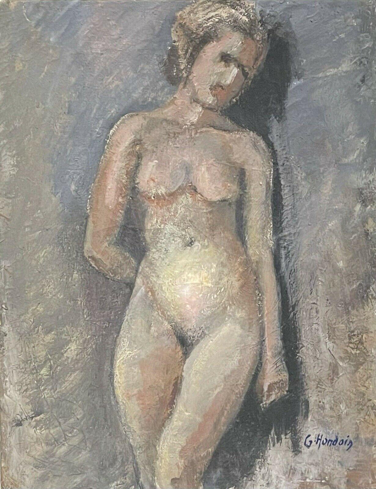 1930's FRENCH SIGNED VINTAGE OIL PAINTING - PORTRAIT OF NUDE YOUNG LADY - FRAMED