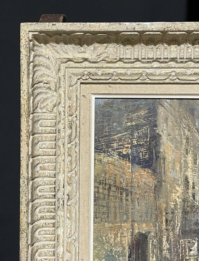 1950's FRENCH MODERNIST OIL PAINTING - CITY STREET SCENE - CARVED WOOD FRAME - Impressionist Painting by Claudine Riboulet
