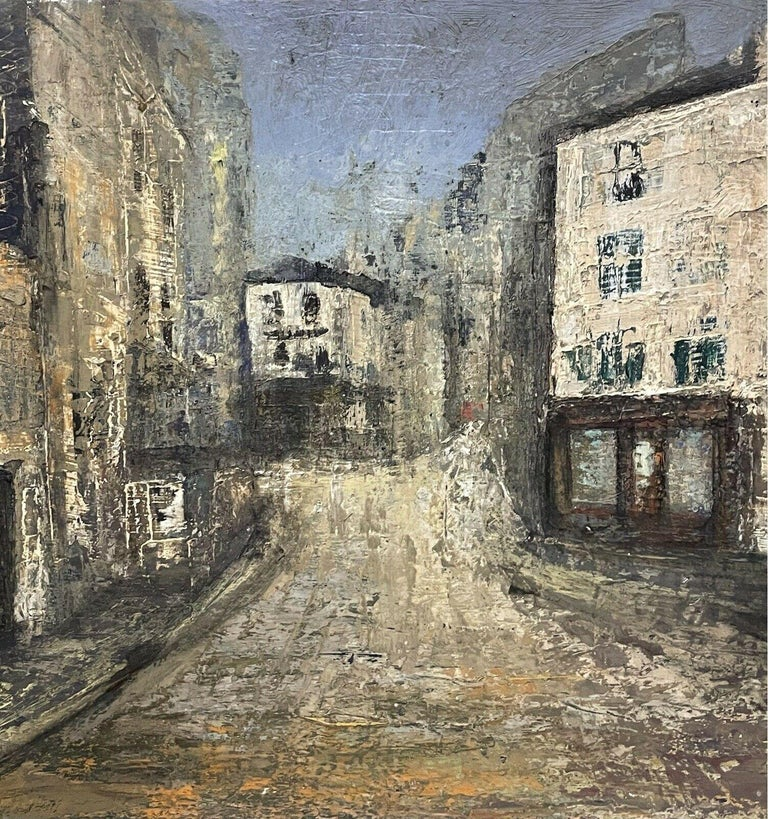 1950's FRENCH MODERNIST OIL PAINTING - CITY STREET SCENE - CARVED WOOD FRAME For Sale 1