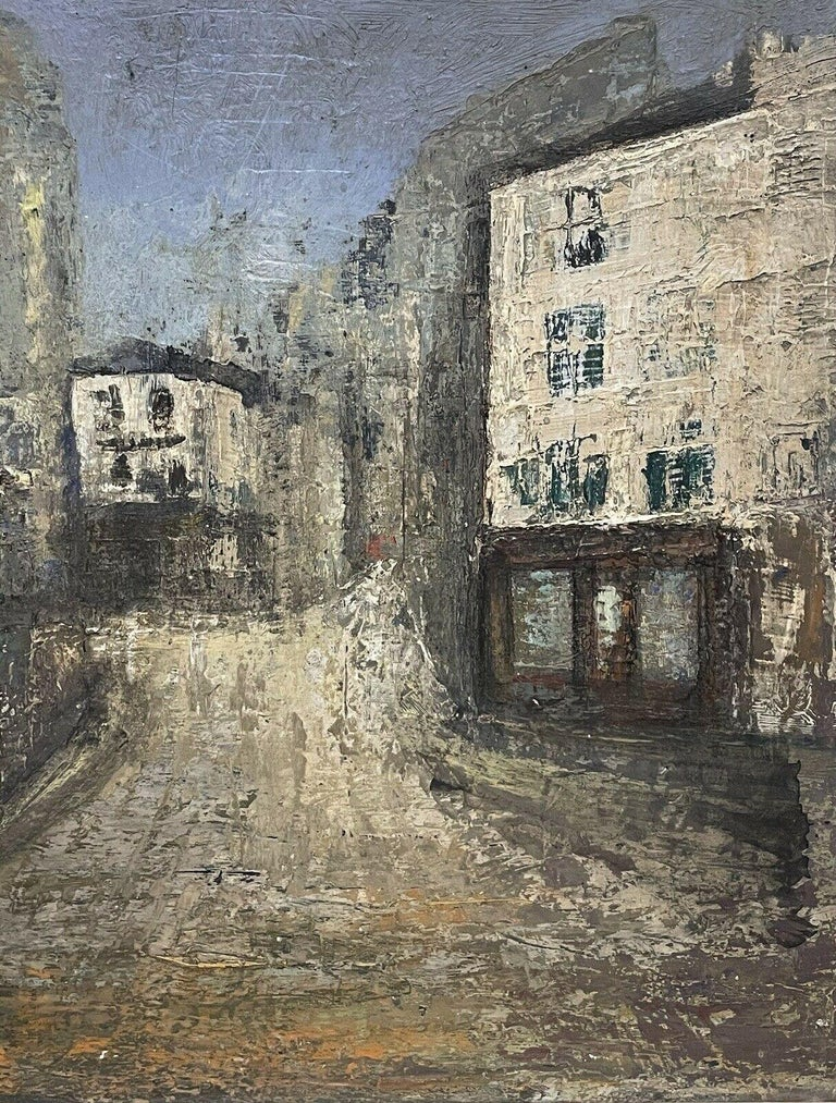 1950's FRENCH MODERNIST OIL PAINTING - CITY STREET SCENE - CARVED WOOD FRAME For Sale 2