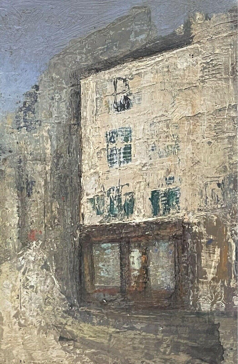 1950's FRENCH MODERNIST OIL PAINTING - CITY STREET SCENE - CARVED WOOD FRAME For Sale 3
