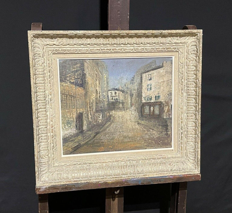 1950's FRENCH MODERNIST OIL PAINTING - CITY STREET SCENE - CARVED WOOD FRAME For Sale 4
