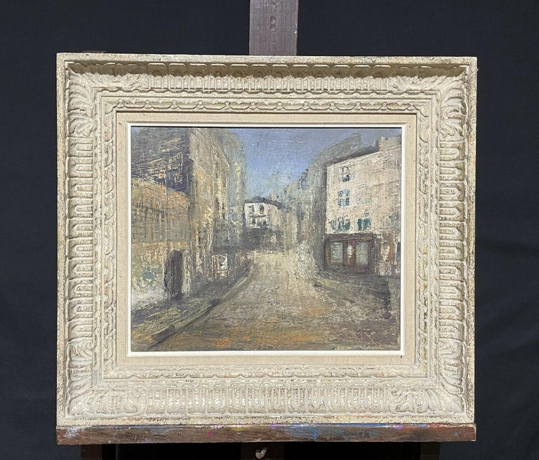1950's FRENCH MODERNIST OIL PAINTING - CITY STREET SCENE - CARVED WOOD FRAME For Sale 5