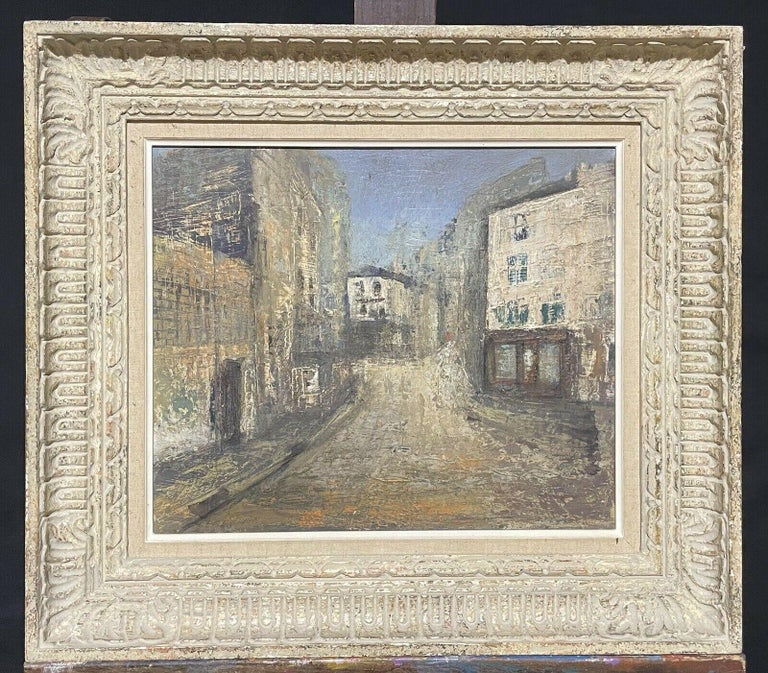 Claudine Riboulet Landscape Painting - 1950's FRENCH MODERNIST OIL PAINTING - CITY STREET SCENE - CARVED WOOD FRAME