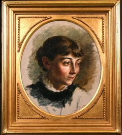 FINE 1890'S PORTRAIT OF LADY - SIGNED OIL PAINTING - OVAL INSET GILT FRAME
