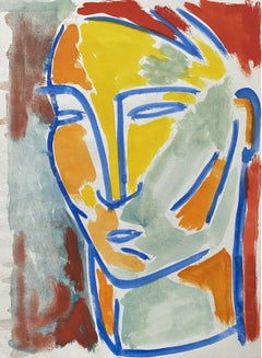 JEAN MARC (1949-2019) 20th CENTURY FRENCH MODERNIST PAINTING - PORTRAIT OF FACE